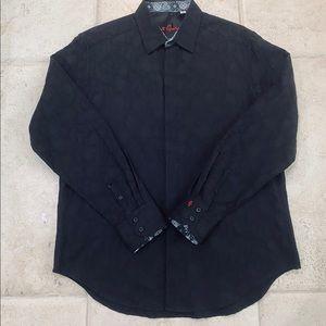 Robert Graham Long Sleeve Black Jaquard Shirt L
